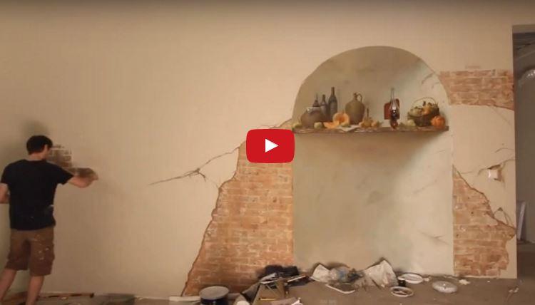 видео росписи стены с аквариумом