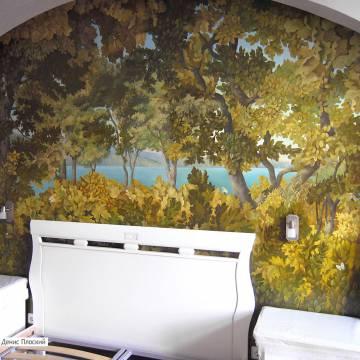 Роспись стены в спальне • лес