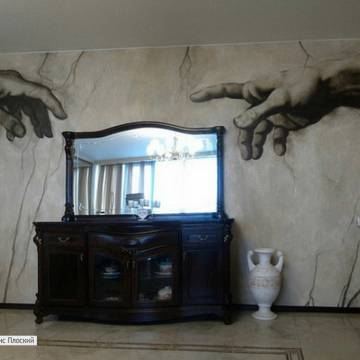 РИСУНОК НА ОБОЯХ • руки Микеланджело