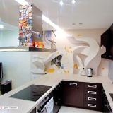 3D рисунок на стене кухни с часами