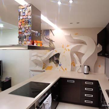 3D рисунки на стенах • кухня с часами