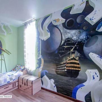 Роспись стен детской комнаты • КОРАБЛЬ, КОСМОС