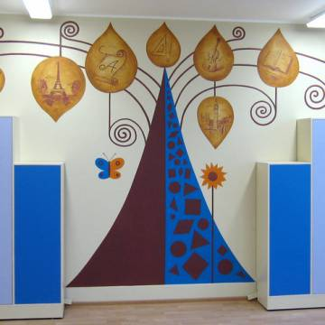 Рисунки на стенах в детских комнатах (мои работы)