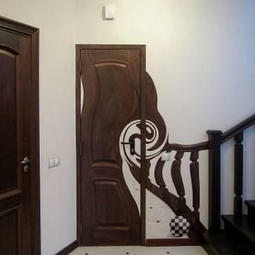 3D рисунок на стене с дверью - СПб