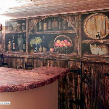 Роспись стен кухни с вином и кошками