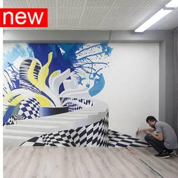 ГРАФФИТИ на стенах интерьера школы в СПб • абстракции