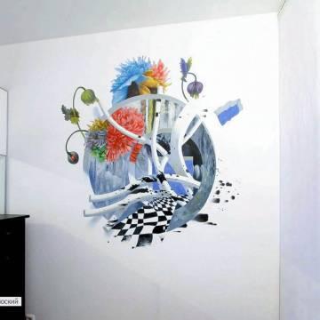 Рисунки на стене квартиры | цветы