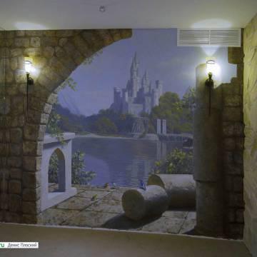 Роспись стен СПб | роспись стены с пейзажем и замком