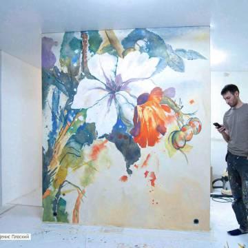 Цветы на стене в интерьере | лучшие рисунки с цветами