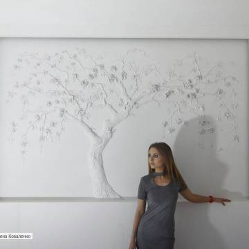 Сакура на стене СПб | дерево из гипса