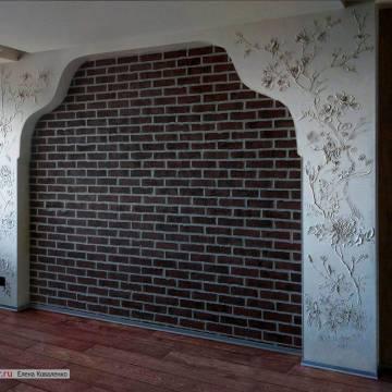 Изготовление барельефа для стен спальни | цветы